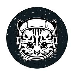 Space Cat Diameter Bumper Sticker - [5
