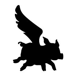 Flying Pig Silhouette Vinyl Decal