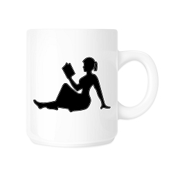 Girl Reading Book Silhouette Coffee Mug - [White][11 oz.]