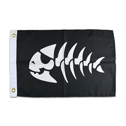 FSM Jolly Pirate Fish Flag - [Black & White][18'' x 12'']