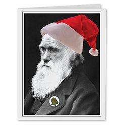 Charles Darwin Santa Holiday Card - [5'' X 7'']