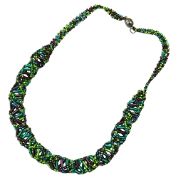 DNA Purple, Emerald & Lime Beaded Necklace - 18