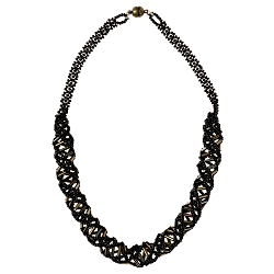 DNA Bronze & Black Beaded Necklace - [18'' Long]