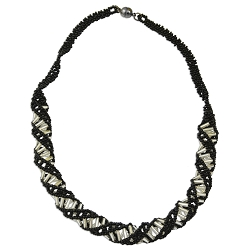 DNA Black & Crystal Beaded Necklace - [18'' Long]