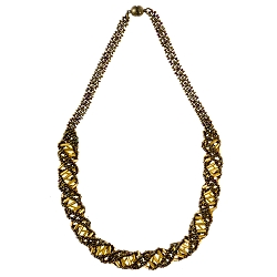 DNA Bronze & Gold Beaded Necklace - [18'' Long]