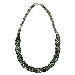 DNA Green Iris Beaded Necklace - [18'' Long]
