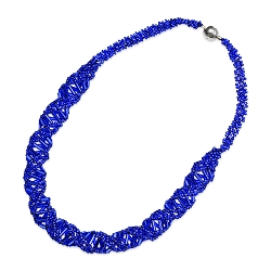 DNA Blue Beaded Necklace - [18'' Long]