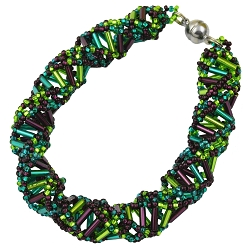 DNA Purple, Emerald & Lime Beaded Bracelet - [9 1/2'' Long]