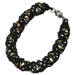DNA Bronze & Black Beaded Bracelet - [9.5