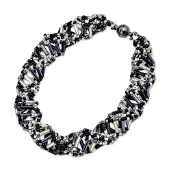 DNA Black & Crystal Beaded Bracelet - [9.5'' Long]