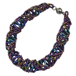 DNA Purple Iris Beaded Bracelet - 9.5