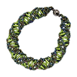 DNA Green Iris & Lime Beaded Bracelet - 9.5