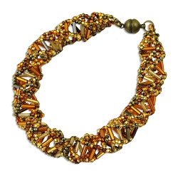DNA Bronze & Gold Beaded Bracelet - [9 1/2'' Long]