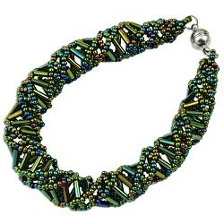 DNA Green Iris Beaded Bracelet - 9.5