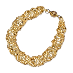 DNA Gold Beaded Bracelet - 9.5