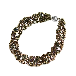 DNA Brown Iris Beaded Bracelet - 9.5
