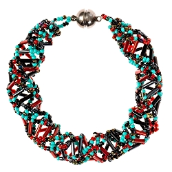 DNA Turquoise and Red Beaded Bracelet - [9 1/2'' Long]