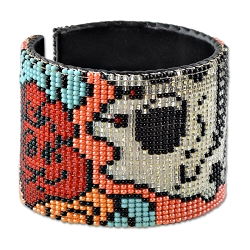 Day of the Dead Beaded Wrist Cuff Bracelet - [2.75