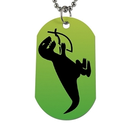 T-Rex Eating Christian Fish Dog Tag - [2'' Tall]