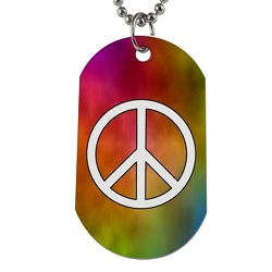 Peace Symbol Dog Tag - [2'' Tall]