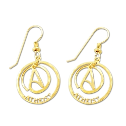 Circle A for Atheist Two Part Earrings - [3/4