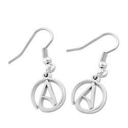 Circle A for Atheist Earrings - 1/2
