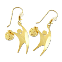 Humanist Dancing with the World Gold Earrings - [1.25'' Tall]