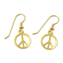 Peace Symbol Earrings - [Gold][1/2'' Diameter]