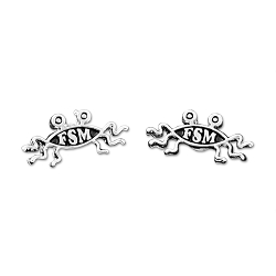 FSM Flying Spaghetti Monster Post Earrings - [Silver][1/2'' Wide]