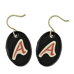 Scarlet A for Atheist Ceramic Earrings - [1.25'' Tall]