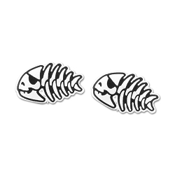 FSM Jolly Pirate Fish Post Earrings - [Silver][1/2'' Wide]