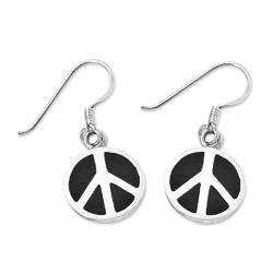 Peace Symbol Earrings - [Black & Silver][1/2'' Diameter]