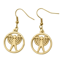 Jewish Humanist Symbol Earrings - [Gold][3/4