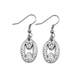 Humanist Oval Earrings - [Silver][3/4'' Tall]