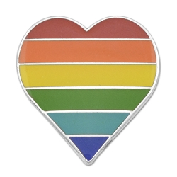 Rainbow Pride Heart Lapel Pin - [3/4'' Tall]