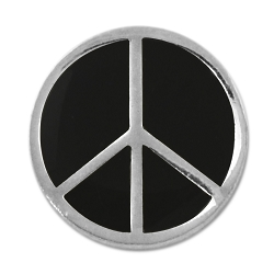 Peace Symbol Lapel Pin - [Silver & Black][1/2'' Diameter]