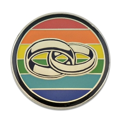 Rainbow Pride Wedding Rings Lapel Pin - [1'' Diameter]
