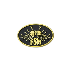 FSM Flying Spaghetti Monster Oval Gold Lapel Pin - 1