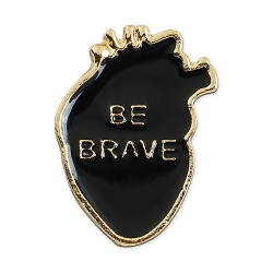 Be Brave Heart Lapel Pin - [1 1/8'' Tall]