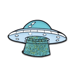 Alien UFO Lapel Pin - [1 3/8'' Wide]