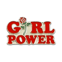 Girl Power Rose Lapel Pin - [1 1/2