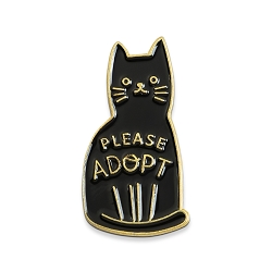 Please Adopt Cat Lapel Pin - [1 1/4'' Tall]