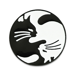 Cat Yin Yang Lapel Pin - [1 1/8'' Diameter]