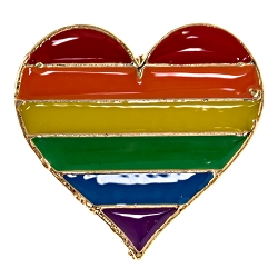Pride Rainbow Heart Lapel Pin - [1'' Tall]