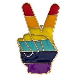 Rainbow Pride Peace Fingers Lapel Pin - [1 1/4'' Tall]