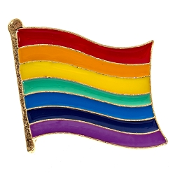 Waving Rainbow Pride Flag Lapel Pin - [1 1/8