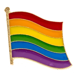 Rainbow Pride Waving Flag Lapel Pin - [1'' Wide]