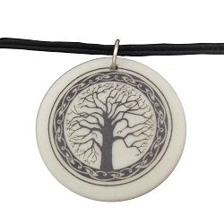Sacred Tree Porcelain Necklace - [1 1/2'' Diameter]