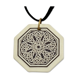 Celtic Knotwork Porcelain Necklace - [1 1/4