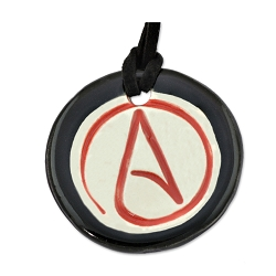Circle A for Atheist Round Ceramic Necklace - [1 3/4'' Diameter]